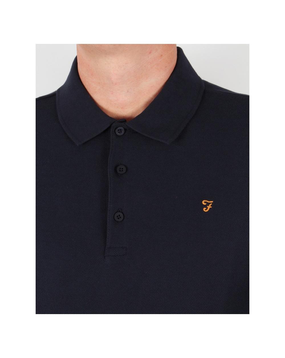 Farah Rosslyn Polo Shirt Navy Blue Long Sleeve Cotton Mens