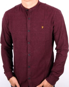 Farah Steen Grandad Collar Shirt Bordeaux