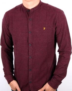 Farah Steen Grandad Collar Shirt Bordeaux