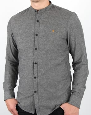 Farah Steen Grandad Collar Shirt Gravel