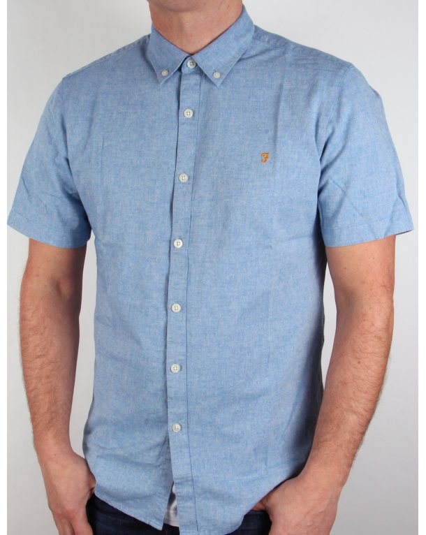 Farah Steen Short Sleeve Shirt Blue Marl