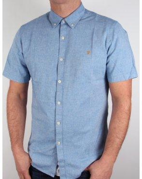 Farah Steen Short Sleeve Shirt Blue Marl