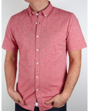 Farah Steen Short Sleeve Shirt Red Marl