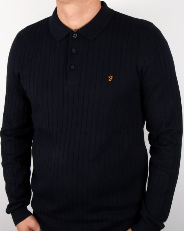 Farah Tadley Knitted Polo Shirt Navy