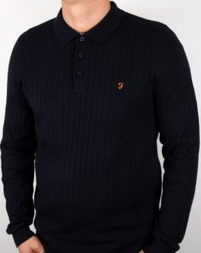 Farah Tadley Knitted Polo Shirt Navy