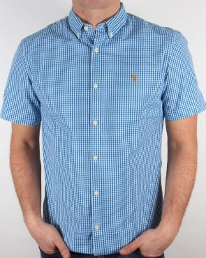 Farah Vintage Argyle Short Sleeve Shirt Sierra Blue