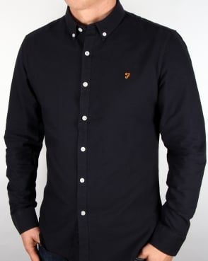 Farah Vintage Brewer Long Sleeve Shirt Navy