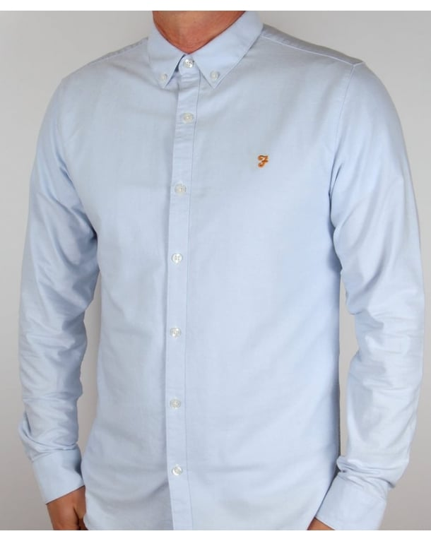 Farah Farah Vintage Brewer Long Sleeve Shirt Sky Blue