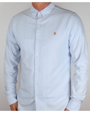 Farah Vintage Brewer Long Sleeve Shirt Sky Blue