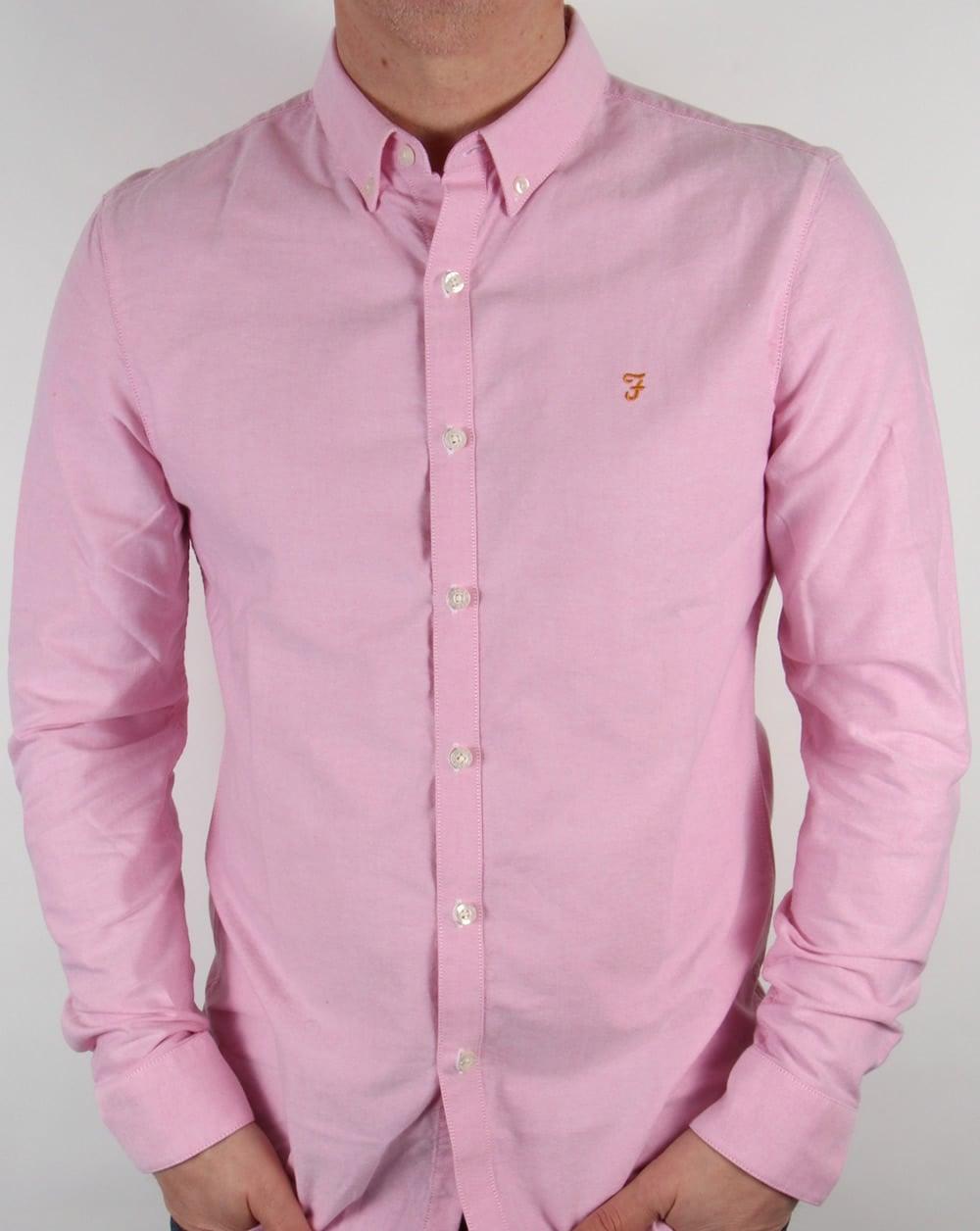 Farah vintage brewer shirt azealia pink long sleeve cotton for Mens pink shirts uk