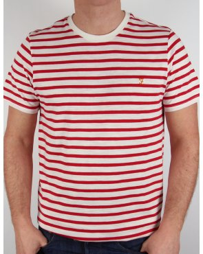 Farah Vintage Gieger S/s Striped T-shirt White/red