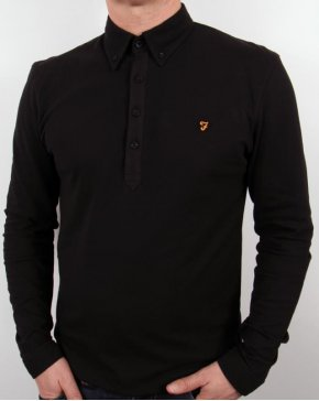 Farah Vintage Merriweather L/s Polo Shirt Black
