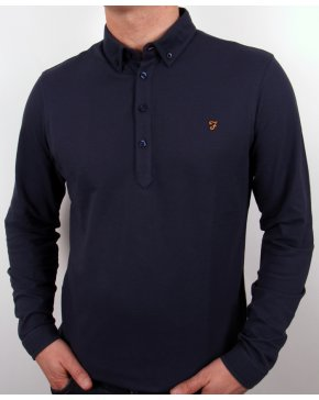 Farah Vintage Merriweather L/s Polo Shirt Navy Blue