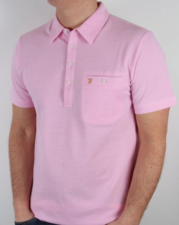 Farah Vintage Tennyson Polo Shirt Horizon Pink