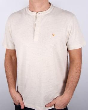 Farah Weddell Linen T Shirt Chalk Marl