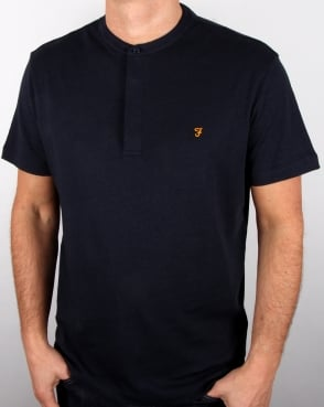 Farah Weddell Linen T Shirt True Navy Marl