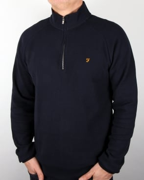 Farah Yves Quarter Zip Jacket True Navy