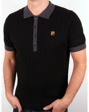 Fila Vintage Fila Gold Bacio Knitted Polo Shirt Black