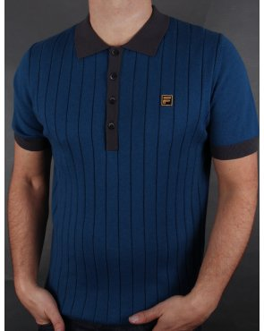 Fila Gold Bacio Knitted Polo Shirt Ink Blue