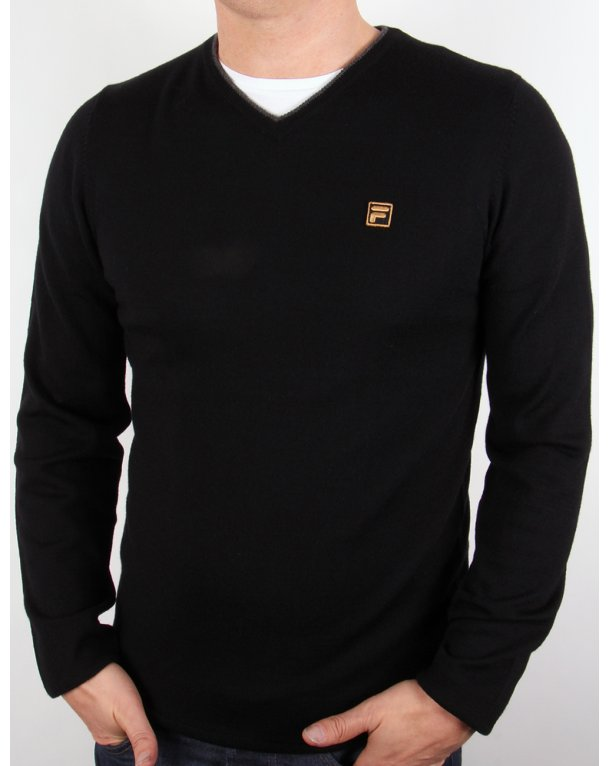 Fila Gold Bucci V-neck Jumper Black
