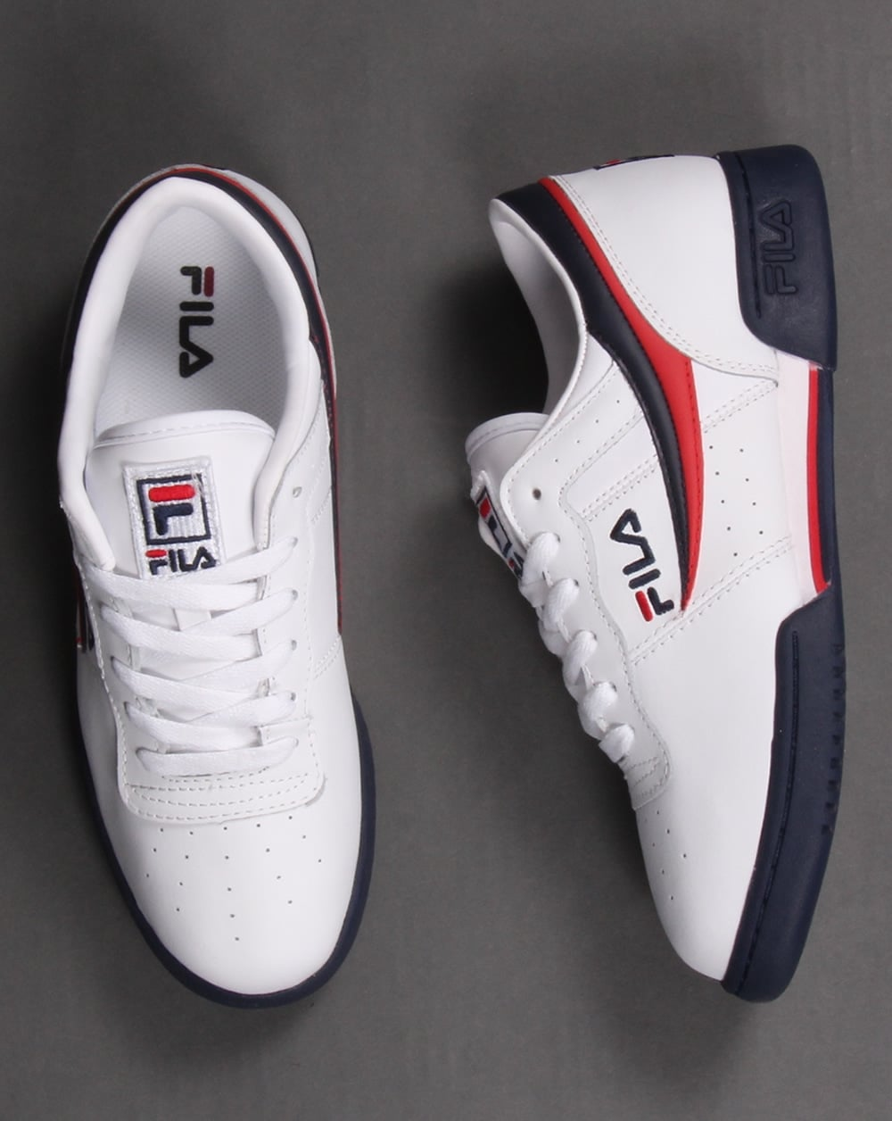 Fila Vintage Original Fitness Trainers White  Navy  Red