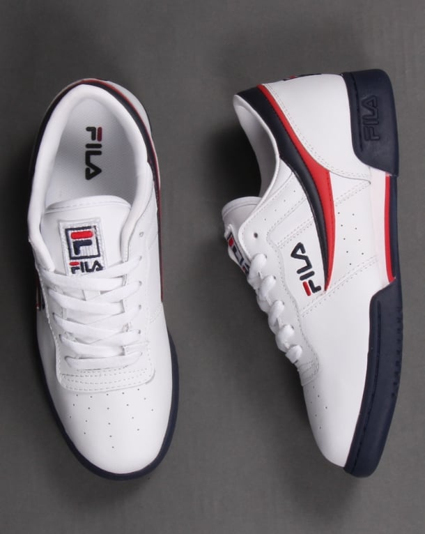 20ce345a16d7 Fila Heritage Original Fitness Trainers White Navy Red