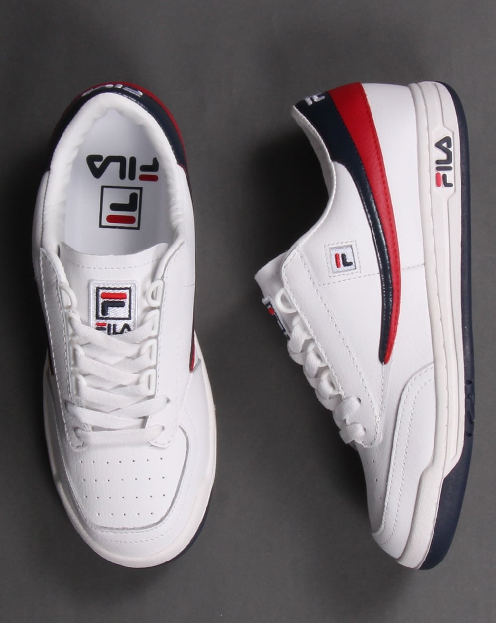 Fila Vintage Original Tennis Trainers White  Navy  Red Shoes