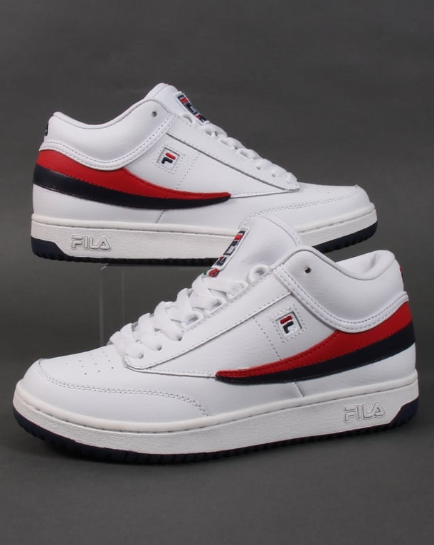 Fila Heritage T-1 Mid Trainers White/Navy/Red