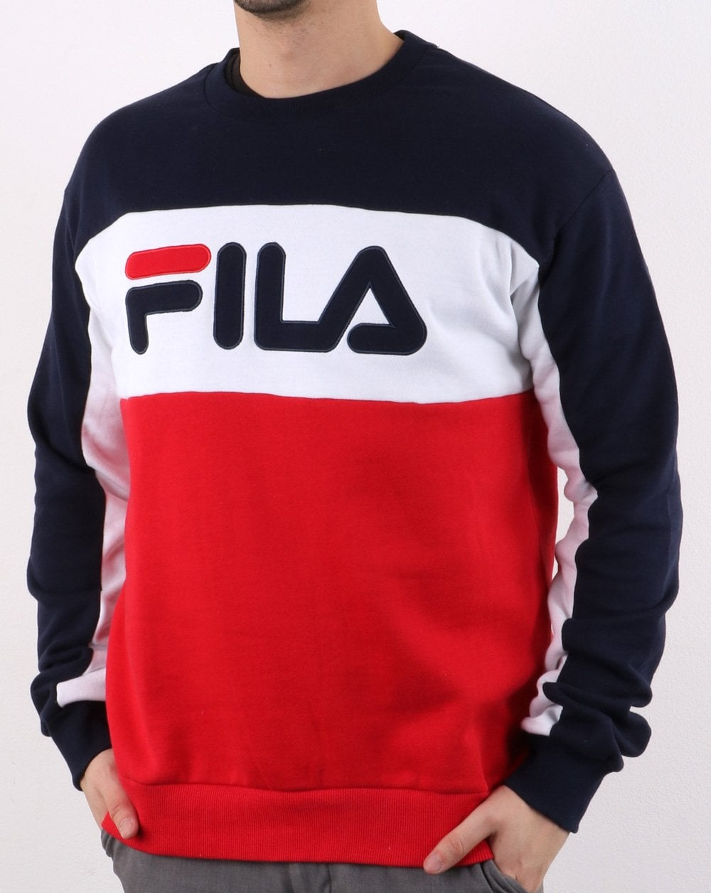 dd2a4653243 Fila Logo Vintage Brock Sweatshirt Navy, red, white | 80s casual ...