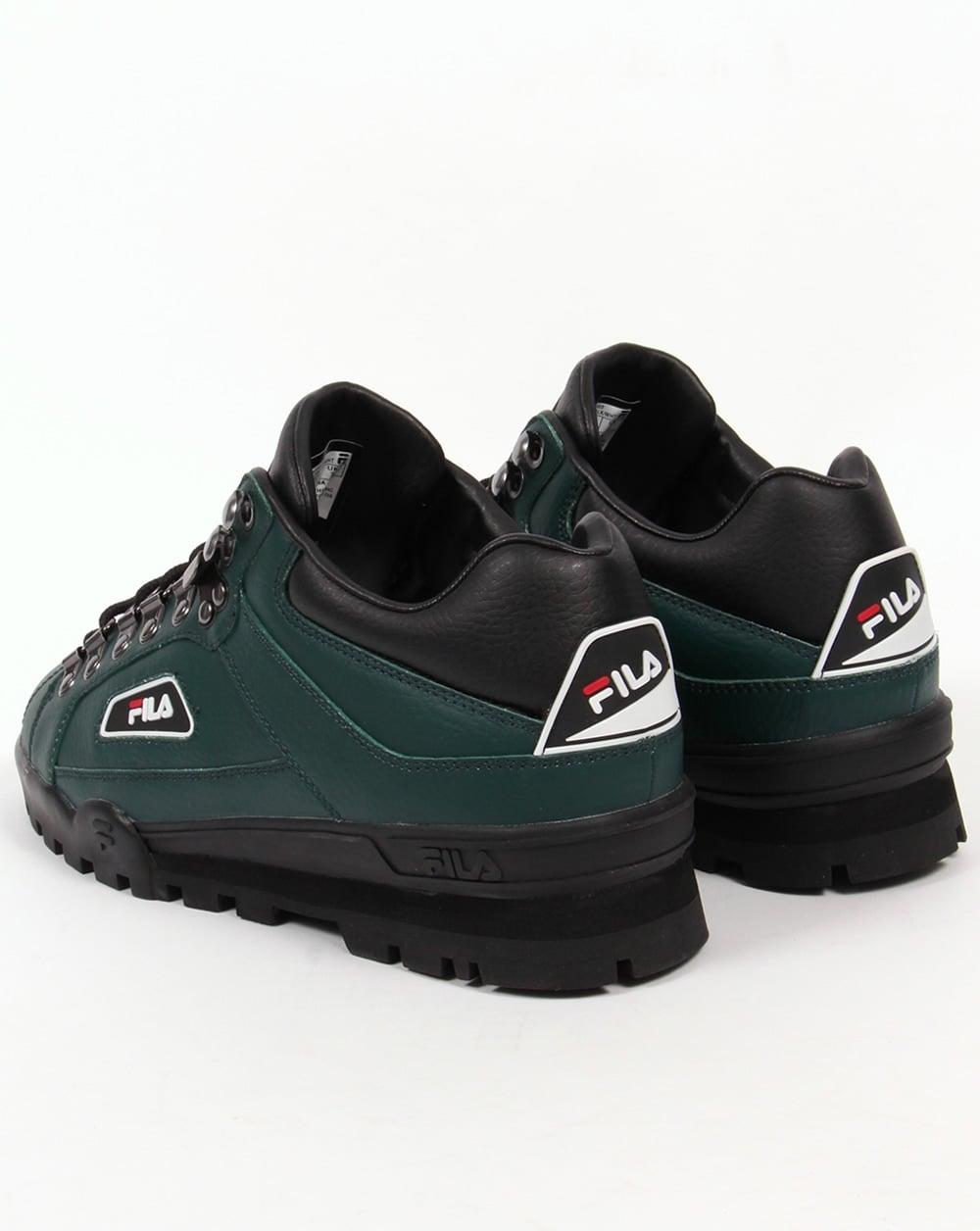 fila trailblazer black leather trainers