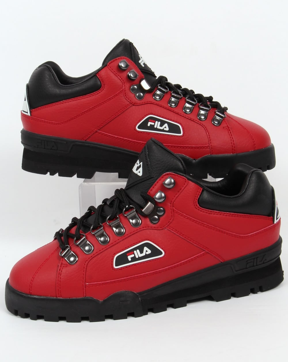 Fila Vintage Trailblazer Boots Red Leather Hiking Mens  Biking
