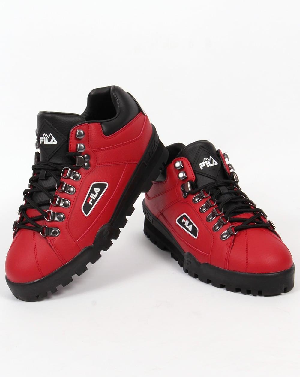 Fila Vintage Trailblazer Boots Red Leather Hiking Mens Biking