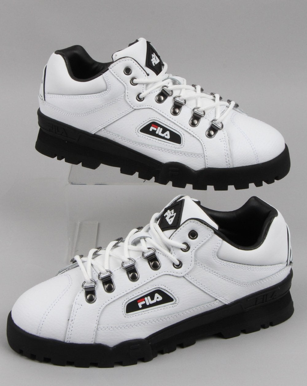 Fila  Vintage  Trailblazer Boots  White Leather Hiking Mens