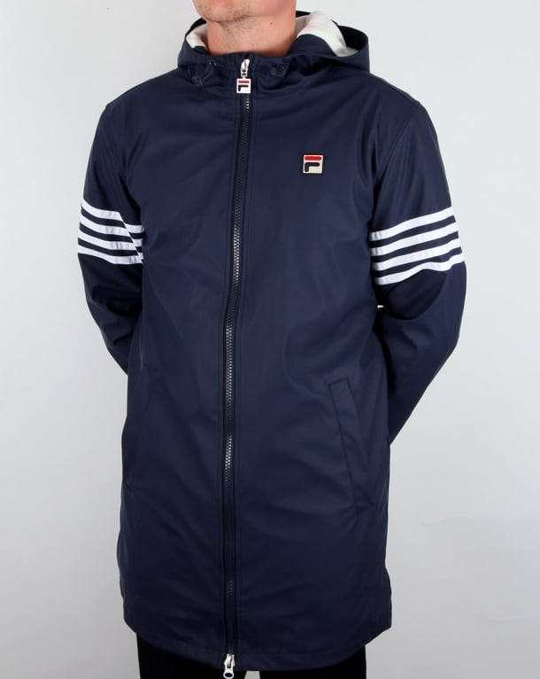 Fila Vintage 4 stripe Hooded Parka Navy