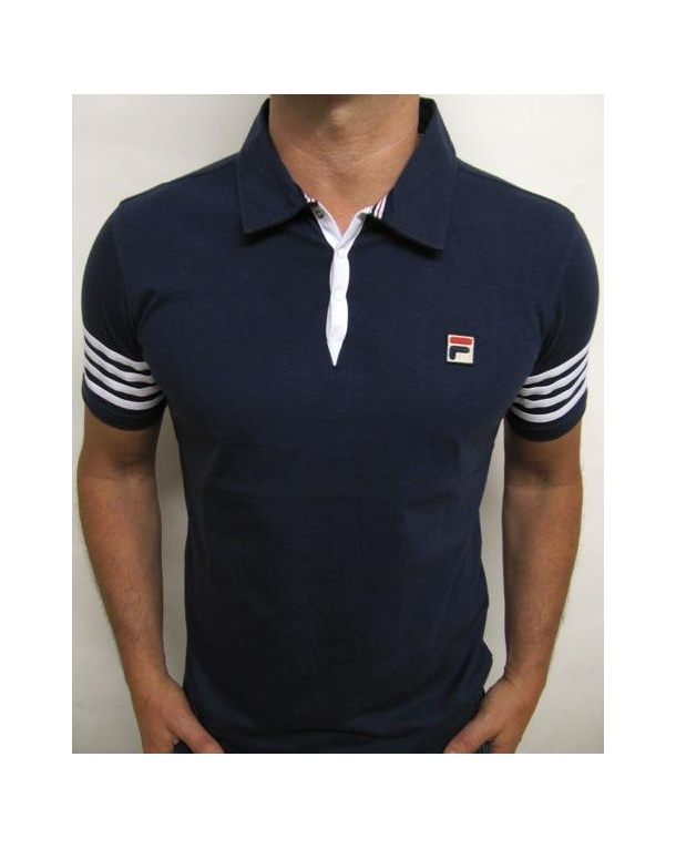 Fila Vintage 4 Stripe Polo Shirt Navy/White