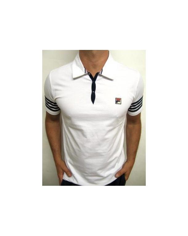 Fila Vintage 4 Stripe Polo Shirt White/Navy
