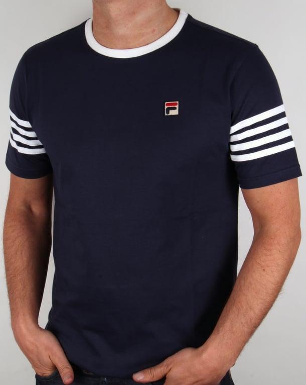 Fila Vintage 4 Stripe Ringer T-shirt Navy/white