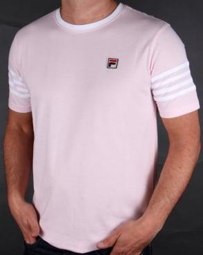 Fila Vintage 4 Stripe Ringer T-shirt Pink/White