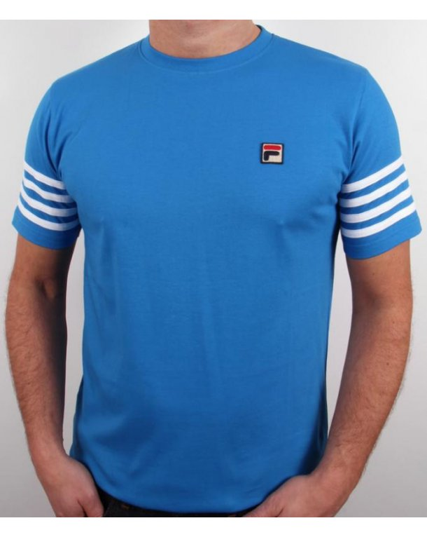 Fila Vintage 4 Stripe T-shirt French Blue