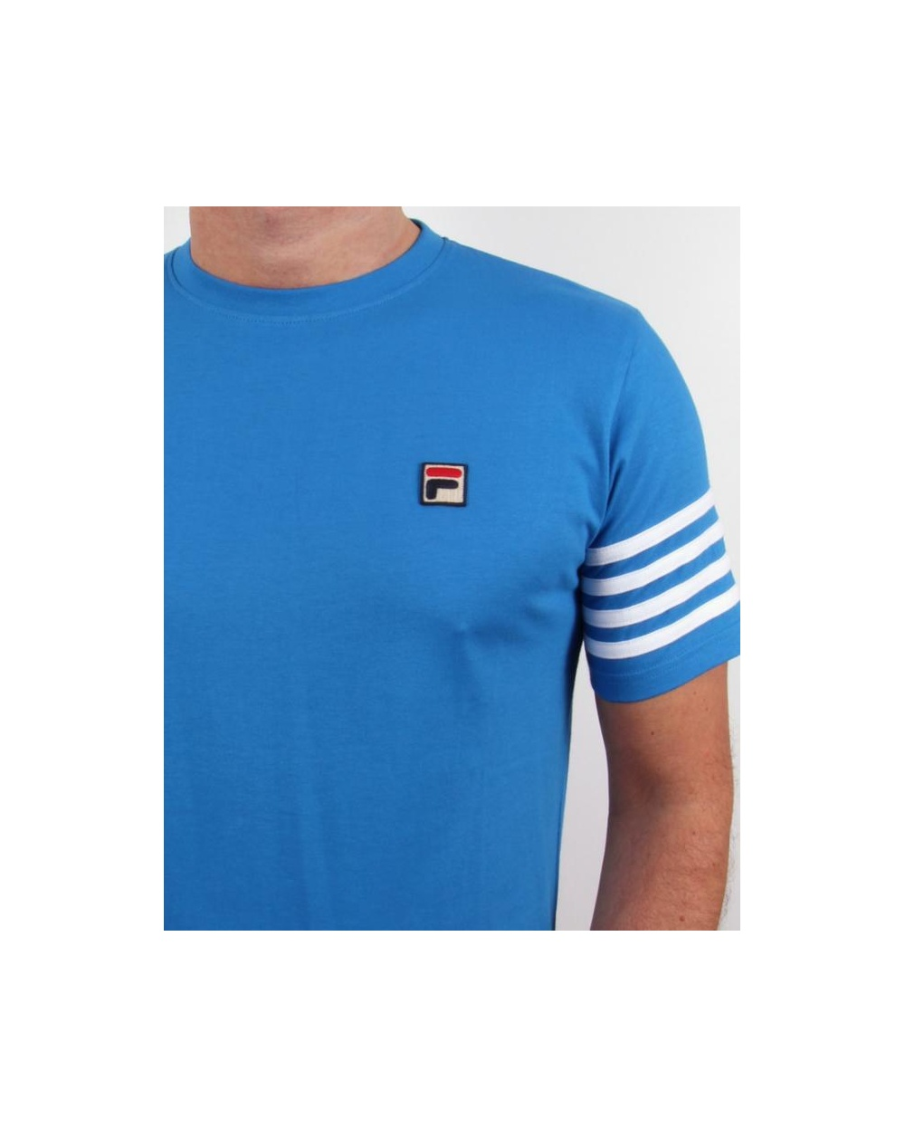 Fila vintage 4 stripe t shirt french blue crew neck for French blue t shirt