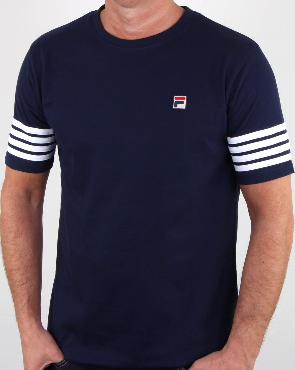 Fila Vintage 4 Stripe T-shirt Navy\/white| 80s casual classics