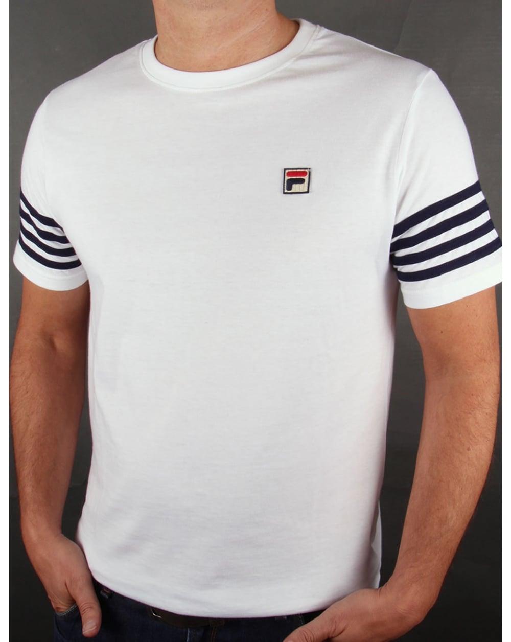 fila vintage 4 stripe t shirt white crew neck striped tee mens. Black Bedroom Furniture Sets. Home Design Ideas