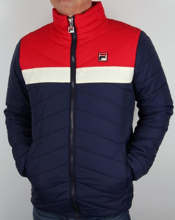 Fila Vintage Piselli Padded Jacket Navy/Gardenia/Red,coat ...