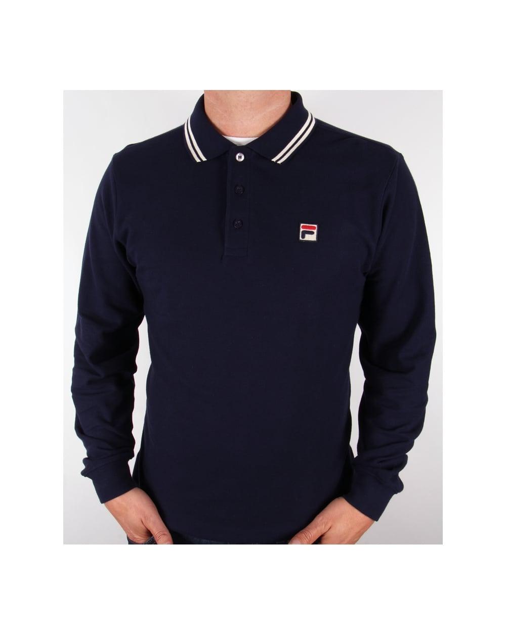 Fila Vintage Ace Long Sleeve Polo Shirt Navy