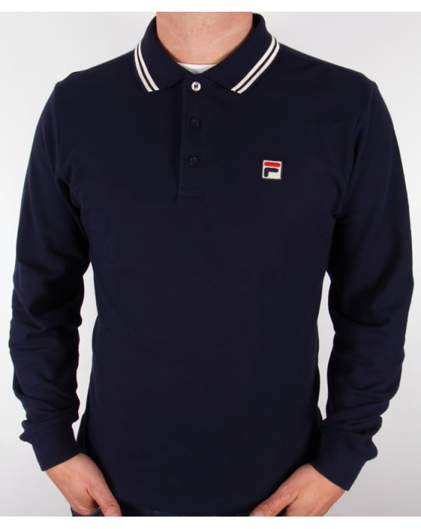 Fila Vintage Ace Long Sleeve Polo Shirt Navy