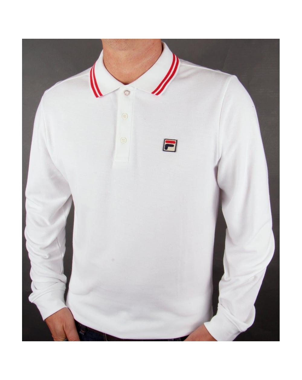 Fila Vintage Ace Long Sleeve Polo Shirt White