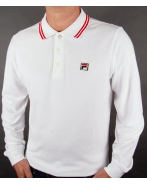 Fila Vintage Ace Long Sleeve Polo Shirt White