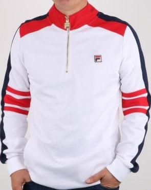 Fila Vintage Alastair Qtr Zip Track Top White/red/navy