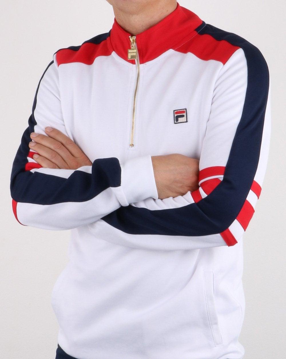 Fila Vintage Alastair Half Zip Track Top Sweatshirt White Red Navy