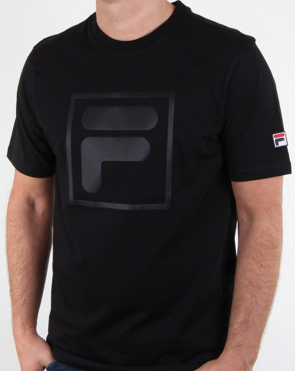 Fila Vintage, Alexis F Box, T Shirt, Black, Mens, Cotton, Crew